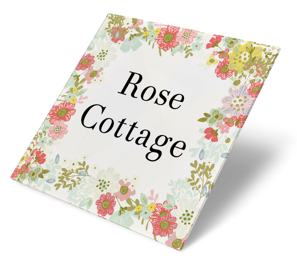 Floral Cottage Wreath Acrylic House Sign - Abodian Signs