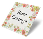 Floral Cottage Wreath Acrylic House Sign
