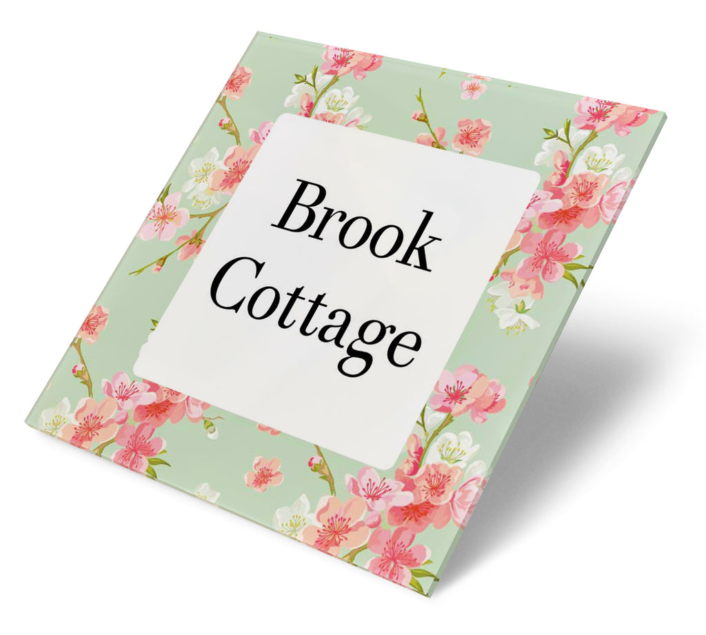 Floral Apple Blossom Acrylic House Sign - Abodian Signs