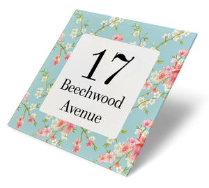 Floral Cherry Blossom Acrylic House Sign
