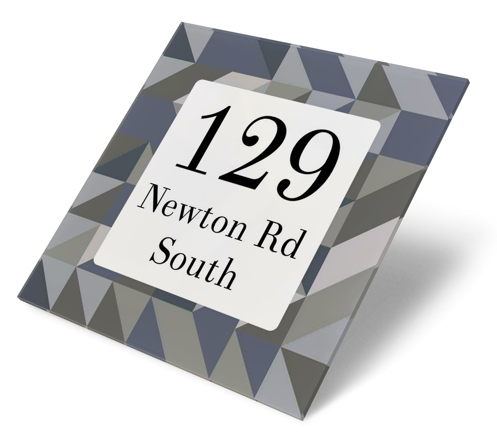 Modern Greys Triangles Acrylic House Sign