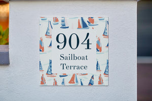 Nautical Painted Boats Acrylic House Sign - Abodian Signs