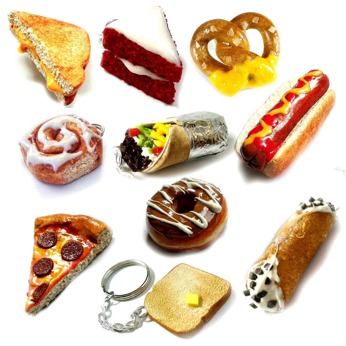wholesale mini food keychain usa, wholesale food jewelry USA, polymer clay food jewelry ,realistic fake food jewelry, handmade cute food jewelry, foodie jewelry, food jewelry, polymer clay food jewelry