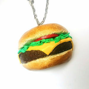 realistic miniature burger, burger pendant, food jewelry