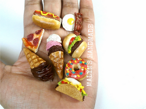 polymer clay miniature food charms and jewelry