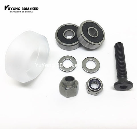 Adjustable CNC clear Polycarbonate Xtreme solid v wheel kits with Eccentric Spacers for v-slot rail,OX CNC,C-Beam,Open MiniMill