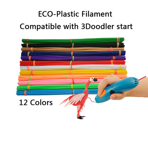 straight 3d filament compatible with 3Doodler start 3D pen,Eco-plastic filament replacement for 3Doodler start refills plastic