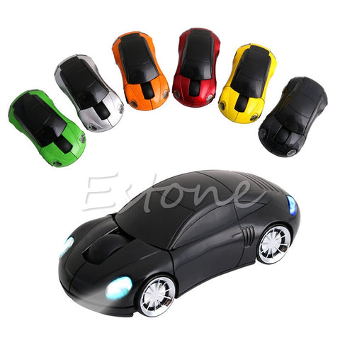 2.4GHZ 1600DPI Wireless Mouse USB Receiver Light LED Super Porsche Car Shape Optical Mice Battery Powered(not included) C26