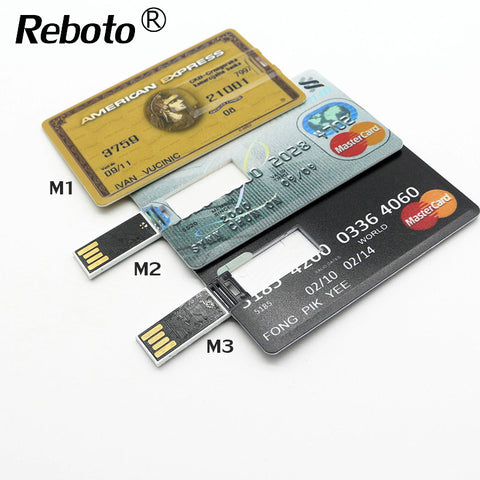 Reboto USB Flash drive Credit Card 64GB 32GB Pen Drive 16GB memory stick 4GB 8GB pendrive External Storage USB 2.0 u disk