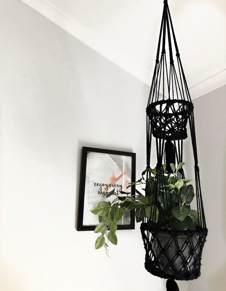 Macrame Double Basket Plant Hanger in Black