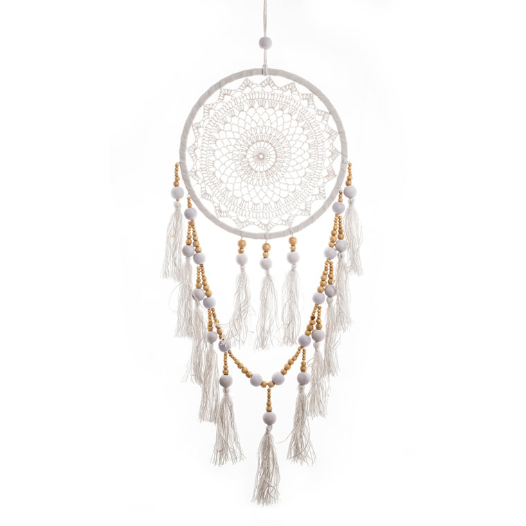 Dream Catcher Tassels & Beads in White