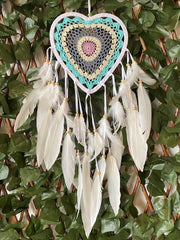 "Dream Catcher ""Heart"" Turquoise / Pink 22cm"
