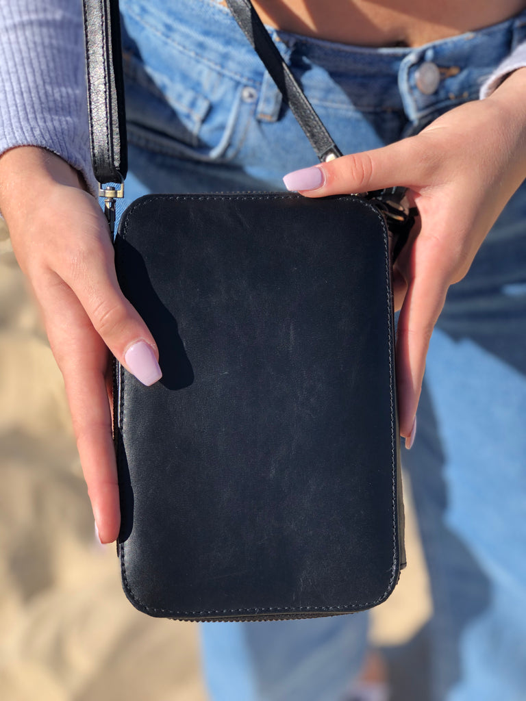Leather Wallet in Black with Phone Case Combo