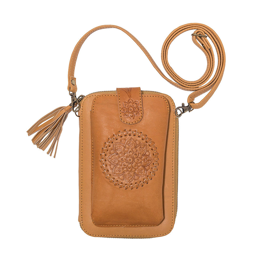 Leather Wallet in Tan with Phone Case Combo