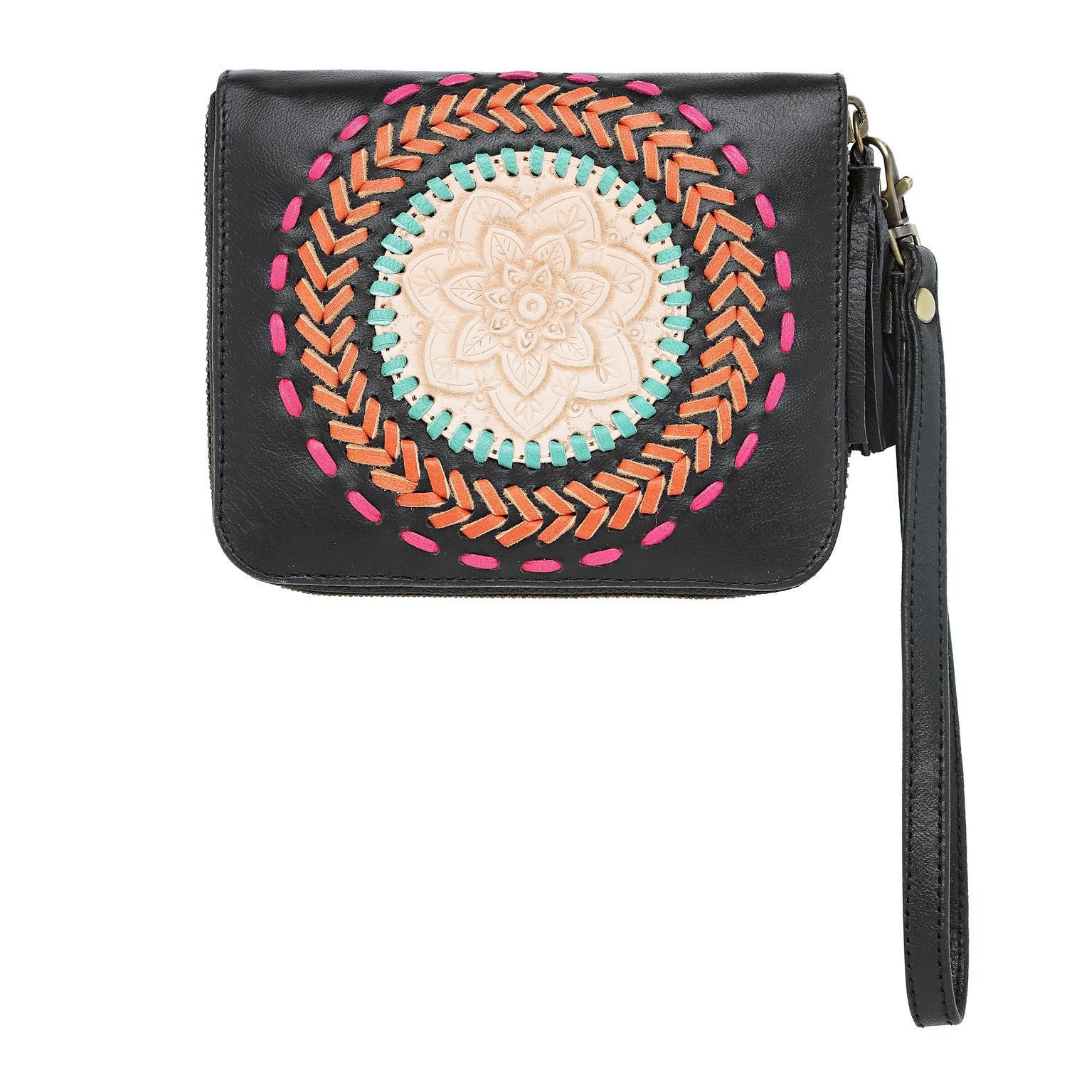 Leather Wallet with Mandala