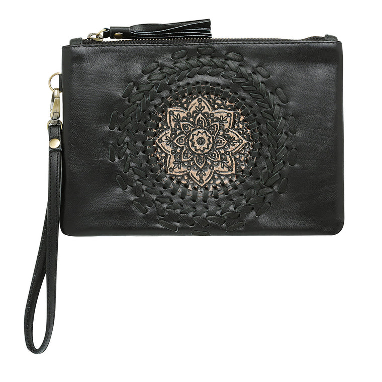 Leather Clutch (Black & Tan)