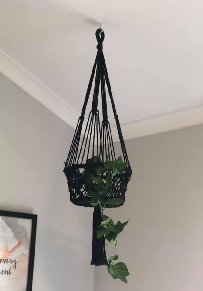 Macrame Single Basket Plant Hanger in Black