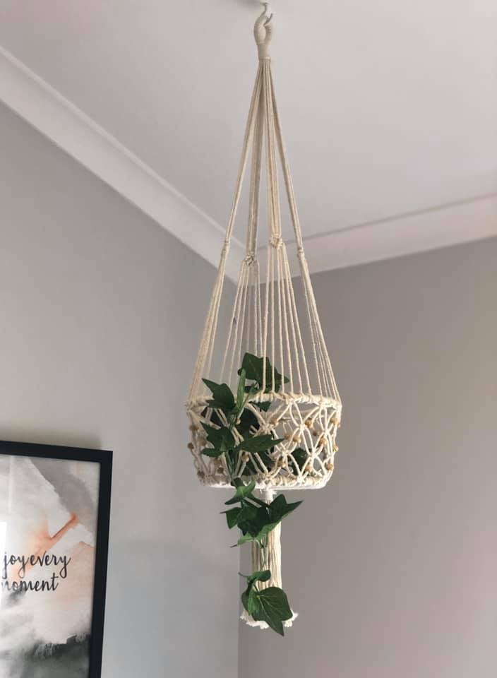 Macrame Single Basket Plant Hanger in Beige
