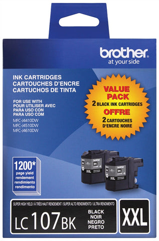 Brother Super High Yield Black Ink Cartridge Dual Pack (2 Pack of OEM# LC107BK) (2 x 1200 Yield)