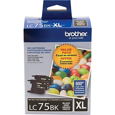 Brother MFC-J280W J425W J430W J435W J625DW J825DW J835DW J5910DW J6510DW J6710DW J6910DW High Yield Black Ink Cartridge Twin Pack (2 Pack of OEM# LC75BK) (2 x 600 Yield)