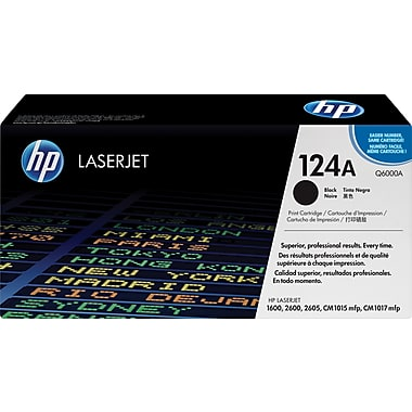 HP 124A (Q6000A) Color LaserJet 1600 2600 2605 Series CM1015 MFP CM1017 MFP Black Original LaserJet Toner Cartridge (2500 Yield)