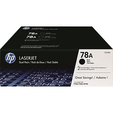 HP 78A (CE278D) LaserJet Pro P1606 M1536 MFP 2-Pack Black Original LaserJet Toner Cartridges (2 x 2100 Yield)