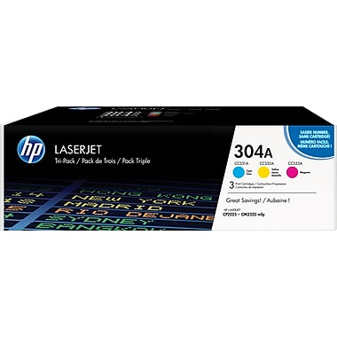 HP 304A (CF340A) Color LaserJet CM2320 MFP CP2025 3-Pack Cyan Magenta Yellow Original LaserJet Toner Cartridges (3 x 2800 Yield)