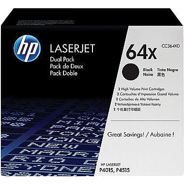 HP 64X (CC364XD) LaserJet P4015 P4515 2-Pack High Yield Black Original LaserJet Toner Cartridges (2 x 24000 Yield)