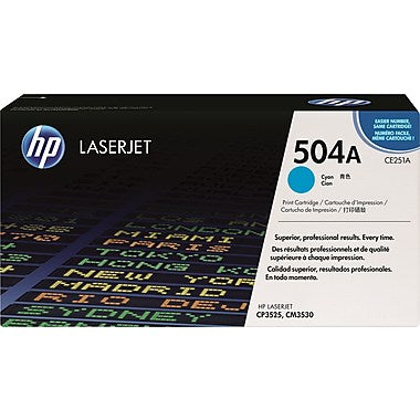 HP 504A (CE251A) Color LaserJet CM3530 MFP CP3525 Cyan Original LaserJet Toner Cartridge (7000 Yield)