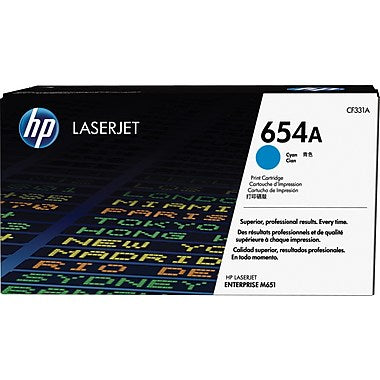 HP 654A (CF331A) LaserJet Enterprise M651 Cyan Original LaserJet Toner Cartridge (15000 Yield)