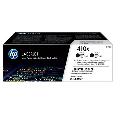 HP 410X (CF410XD) 2-Pack High Yield Black Original LaserJet Toner Cartridges (2 x 6500 Yield)