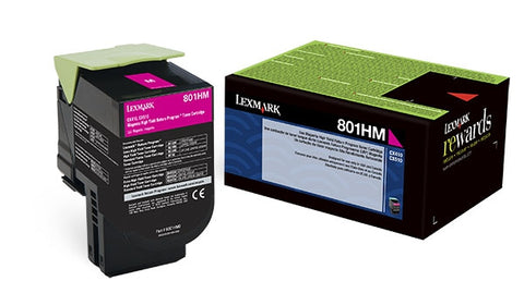 Lexmark (801HM) CX410 CX510 High Yield Magenta Return Program Toner Cartridge (3000 Yield)