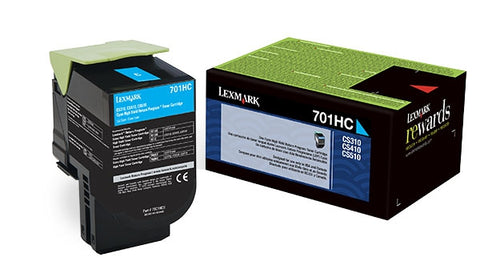 Lexmark (701HC) CS310 CS410 CS510 High Yield Cyan Return Program Toner Cartridge (3000 Yield)