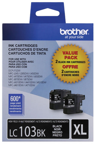 Brother High Yield Black Ink Cartridge Dual Pack (2 Pack of OEM# LC103BK) (2 x 600 Yield)