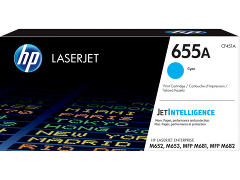 HP 655A (CF451A) Color LaserJet Enterprise M652 M653 M681 M682 Cyan Original LaserJet Toner Cartridge (10500 Yield)