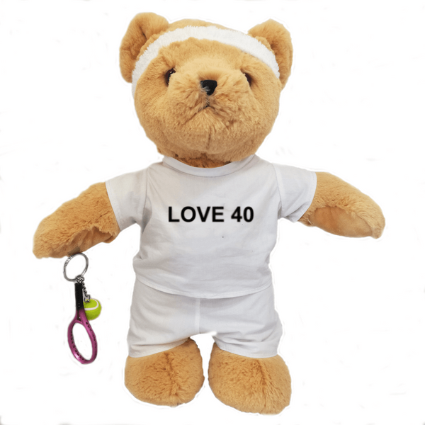 Love 40 Birthday Tennis Bear - Boy - Golf Gifts UK - Golf wrapped up