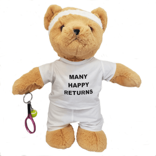 Many Happy Returns Tennis Teddy Bear - Golf Gifts UK - Golf wrapped up