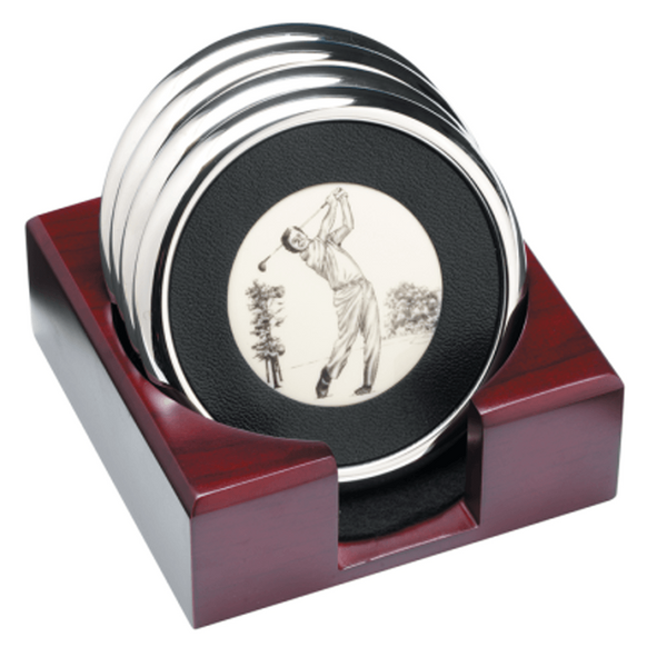 Golf Motif Set of Coasters - Golf Gifts UK - Golf wrapped up