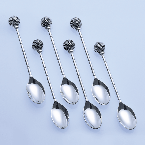 Six Golf Ball Coffee Spoons - Golf Gifts UK - Golf wrapped up
