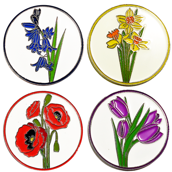 Garden Flower Ball Marker and Pencil in Presentation Sleeve - Golf Gifts UK - Golf wrapped up