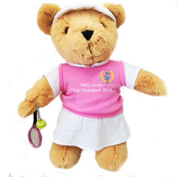 Personalised Tennis Teddy Bear (girl) - Golf Gifts UK - Golf wrapped up