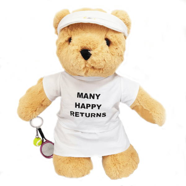 Many Happy Returns Tennis Teddy Bear (girl) - Golf Gifts UK - Golf wrapped up