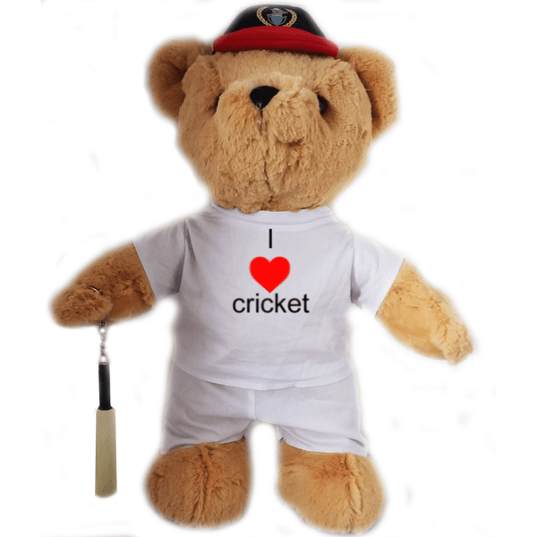 I Love Cricket Teddy Bear - Golf Gifts UK - Golf wrapped up