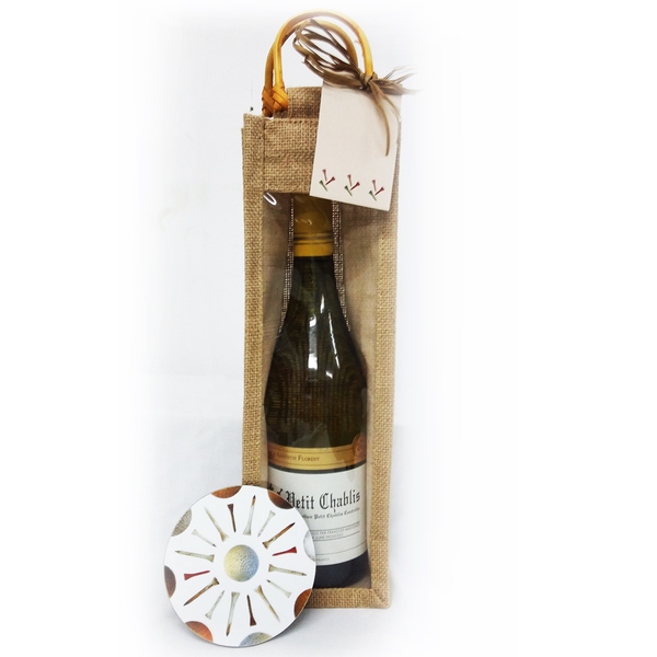 Jute Bottle Bag and Coaster - Golf Gifts UK - Golf wrapped up