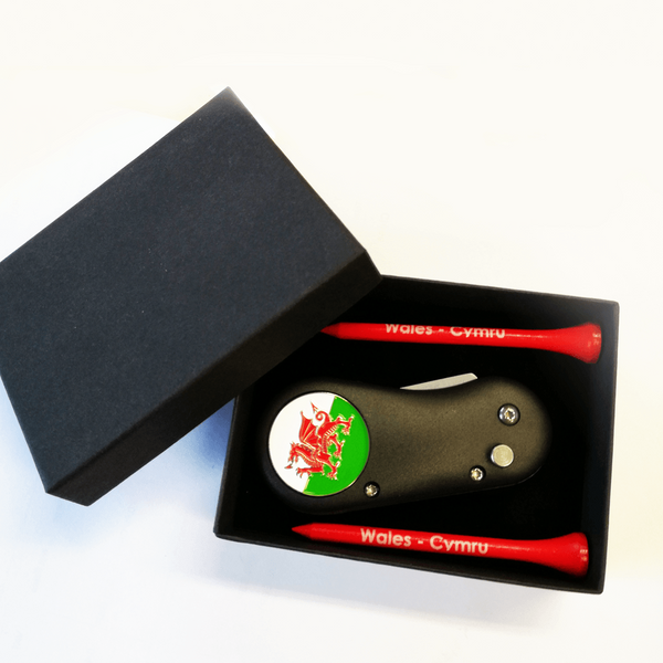 Wales Divot Tool and Tee Set - Golf Gifts UK - Golf wrapped up