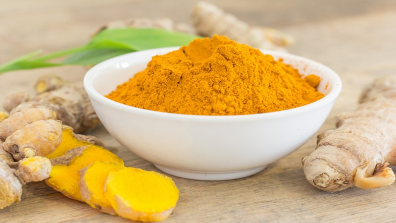 A picture of brightly colored turmeric powder in bowel