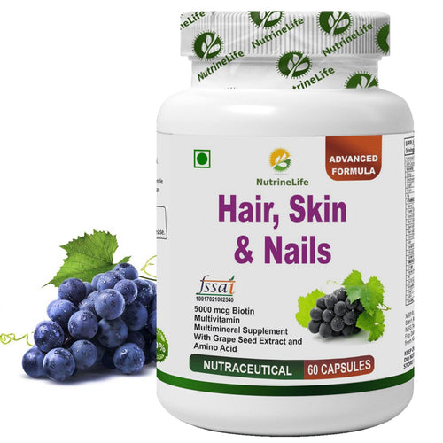 NutrineLife Biotin Hair Skin Nails Supplement for Men and Women, 5000 mg - 60 Capsules - Nutrinelife