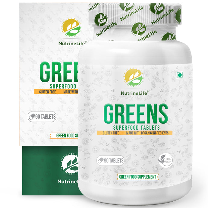 NutrineLife Greens Superfood Tablets - Organic Wheatgrass, Barley Grass, Spirulina & alfalfa - 100% Vegan & Gluten-Free - 90 Tablets