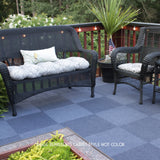 24x24 Peel and Stick Indoor Outdoor Carpet Tile 7RDM Ridgeline Ribbed installed on deck quarter turned