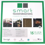 Close up of front of a Smart Transformations Carpet Tile box with product information